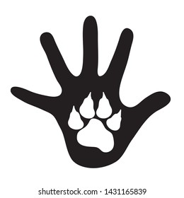 Vector silhouette of child´s hand shows drawing animal´s pawn on the palm. Symbol of childhood and love.