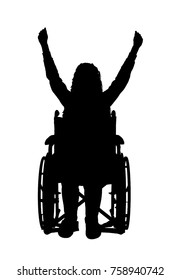 Vector silhouette happy disabled woman in wheelchair. Conceptual scene, element for design