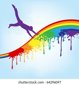vector silhouette of a happy man dancing with rainbow