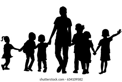 Vector silhouette of happy teacher and children