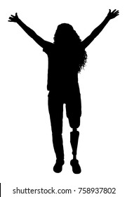 Vector silhouette happy woman with a disability with a prosthetic leg. Conceptual scene, element for design