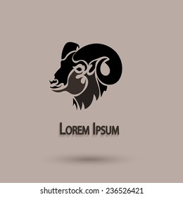 Vector silhouette head wild sheep. Stylized animal with brown background. Artistic idea.