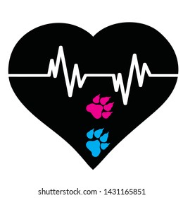 Vector silhouette of heart with animal´s pawn and pulse. Symbol of dog, cat, pet, healthy, veterinary.