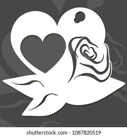 Vector silhouette of a heart with rose. Suitable for laser die, t-shirt design and paper cutting. Vector illustration with wood texture background and paper texture on separated layer.