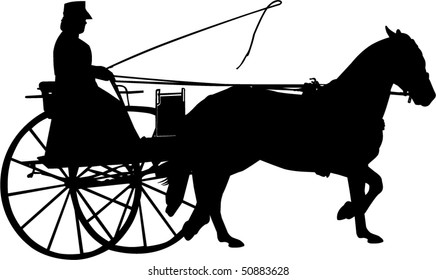 Vector Silhouette of a Horse and Buggy
