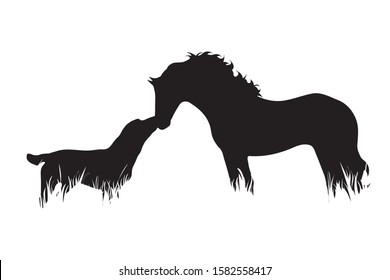 Vector silhouette of horse with dog in the grass on white background. Symbol of animal, pet, friends, farm, nature, pasture.