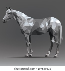 Vector silhouette of a horse in origami style