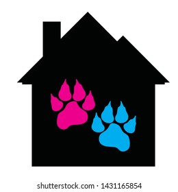 Vector silhouette of house with animal´s pawn on white background. Symbol of dog, pet, cat, protection.