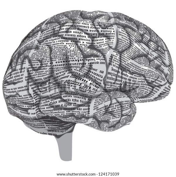 Vector silhouette of the human brain of newspaper columns texture. Text on the newspaper unreadable.