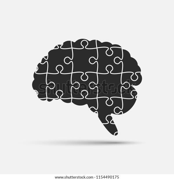 Vector Silhouette Human Brain Puzzle Pieces Stock Vector (Royalty