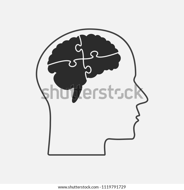 Vector Silhouette Human Head Brain Puzzle Stock Vector (Royalty Free