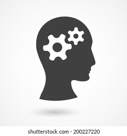 Vector silhouette of human head with gears. Thinking process illustration