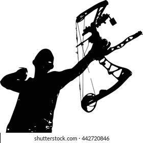 A vector silhouette of a hunter with a bow and arrow just after release
