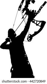 A vector silhouette of a hunter with a bow and arrow at full draw.