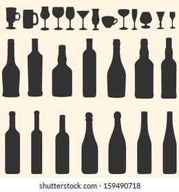 vector silhouette icon set - bottles and stemware
