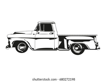 Vector silhouette illustration of 1959 Vintage Hot Rod Pickup Truck