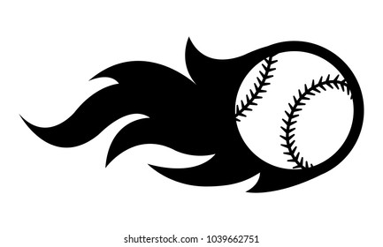 Vector silhouette illustration of baseball ball with simple flame shape. Ideal for sticker, decal, sport logo and any kind of decoration.