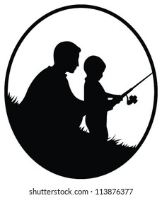 Vector silhouette illustration of a father and son fishing in oval frame