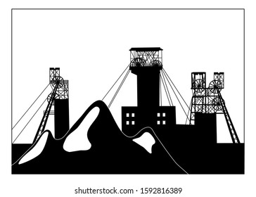 Vector silhouette illustration of industrial coal mining slag heaps and structural headframes above mine shaft. Metallurgy concept