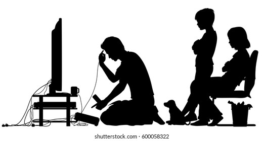 Vector silhouette illustration of a man trying to put together an entertainment centre with bored children watching with all figures as separate objects