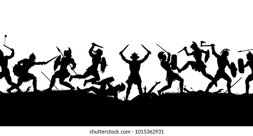 Vector silhouette illustration of a medieval battle scene with figures as separate objects