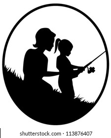 Vector silhouette illustration of a mother and daughter fishing in oval frame