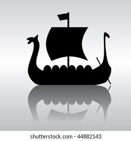 vector silhouette image of an ancient Viking ship parusnog