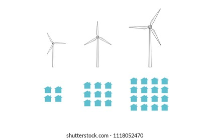 Vector silhouette image of wind turbines and light bulbs increasing in size and number.