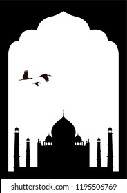 Vector silhouette Indian frame with Taj Mahal and flying herons.