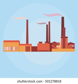 Vector silhouette industrial buildings, plants and factories