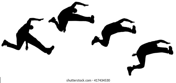 Vector silhouette jumping man on white background