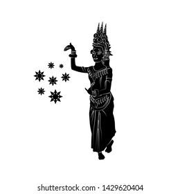 Vector silhouette of Khmer Apsara dancer isolation on white background