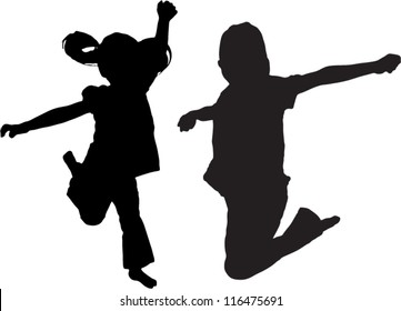 Vector Silhouette of kids jumping up in the air