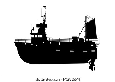 Vector silhouette of a large fishing vessel, barge