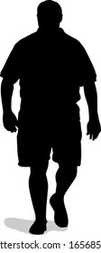 Vector Silhouette of a Large Man Walking.