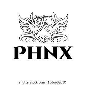 "Vector silhouette line art logo design of black outline fire flaming phoenix bird with open wings,fiery tail and tongue.Luxury eagle drawing for your company or t shirt print with text ""PHNX""."