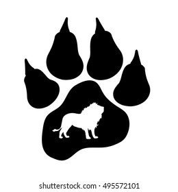 Vector silhouette of lion's paw on white background.