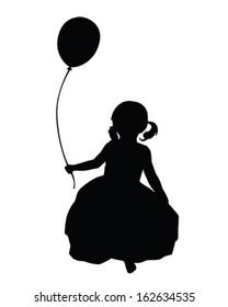 Vector Silhouette of a little girl holding a balloon