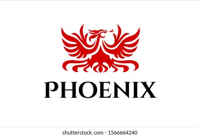 Vector silhouette logo design of red fire flaming phoenix bird with open wings, ,fiery tail and tongue.Luxury eagle drawing for your company or t shirt print.
