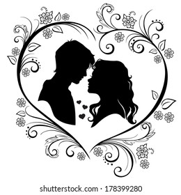 Vector silhouette of a loving couple framing with flowers and leaves isolated on white background
