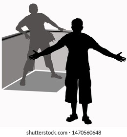 Vector silhouette of a male tourist. The man cordially spread his arms to the sides welcoming the guests or inviting them to a hug. Silhouette of a man who leaned on the corner of the fence, railing