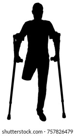 Vector silhouette of a man with an amputated leg standing with crutches. The concept of people with disabilities