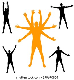Vector silhouette of man with arms outstretched.