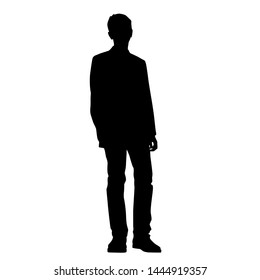 Vector silhouette of a man in a business suit standing, black color isolated on white background