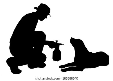 Vector silhouette of a man with a dog.