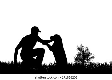 Vector silhouette of man with dog on a white background.