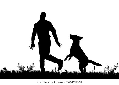 Vector silhouette of a man with a dog on a meadow.