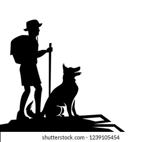 Vector silhouette of the man with dog for a walk. Hiking club Extreme adventure.