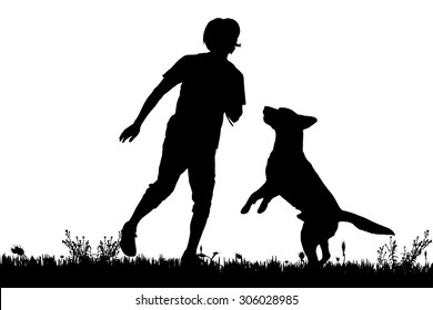 Vector silhouette of the man with dog for a walk.