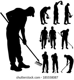 Vector silhouette of a man with garden tools.